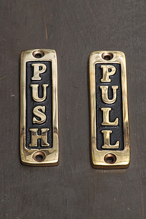 Brass Sign Mini Push & Pull 2