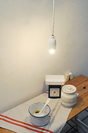 Poterie Cord Pendant comme neige