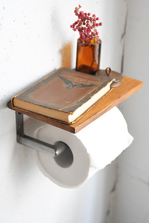 Wood Top Toilet Paper Holder